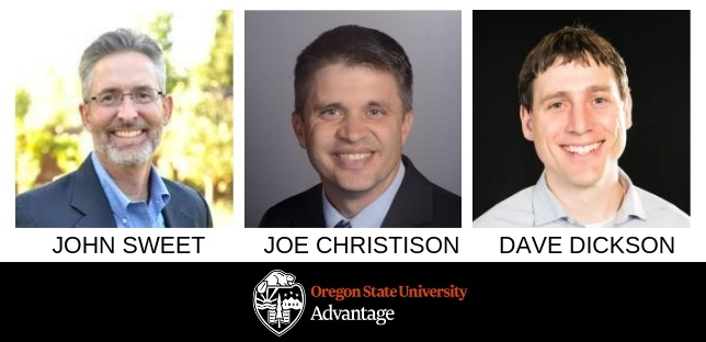 image containing three photos panel speakers and the OSU Advantage logo